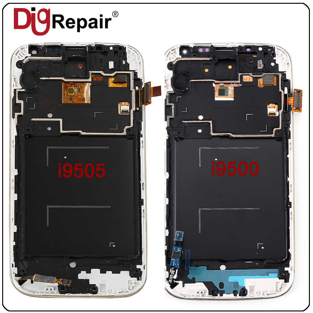 I545 I9500 i9505 شاشات lcd لسامسونج غالاكسي S4 شاشة الكريستال السائل محول الأرقام بشاشة تعمل بلمس مع الإطار لسامسونج S4 عرض