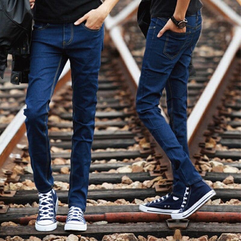 Left ROM 2019 New Men's Fashion Boutique Blue Thin Leg Leisure Jeans / Men High Quality Pure Color Slim Casual Jeans Men Pants