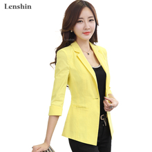 Lenshin Linen Breathable Jacket women Clothing Summer Wear Female Casual Coat Half Sleeve Yellow Cotton Blazer Tops Outwear