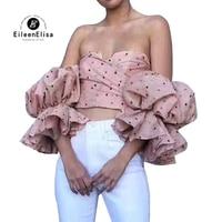 Модные блузки для малышек женский Slash средства ухода за кожей шеи Блузка с открытыми плечами дамы лето с пышными рукавами в горошек для женщ