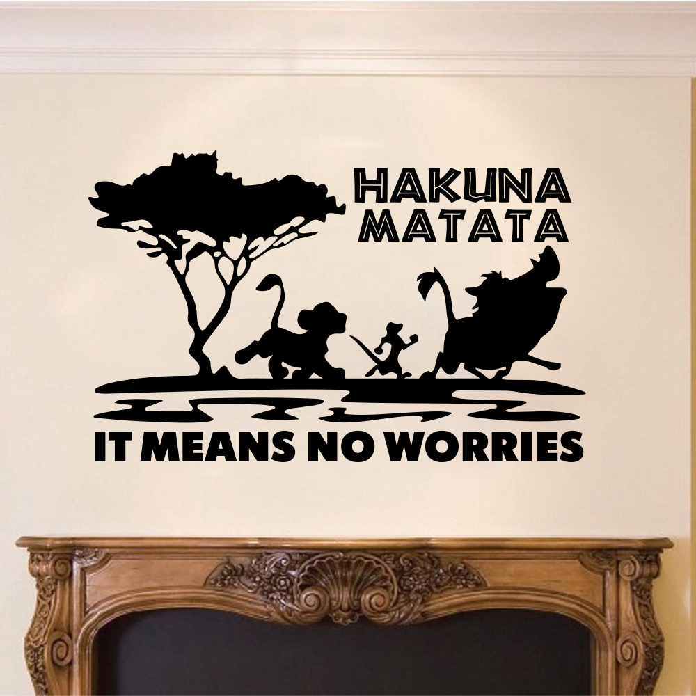 Cartoon The Lion King Hakuna Matata Means No Worries Quote Tree Zoo Car  Laptop Wall Sticker Decal Inspirational Quote Vinyl