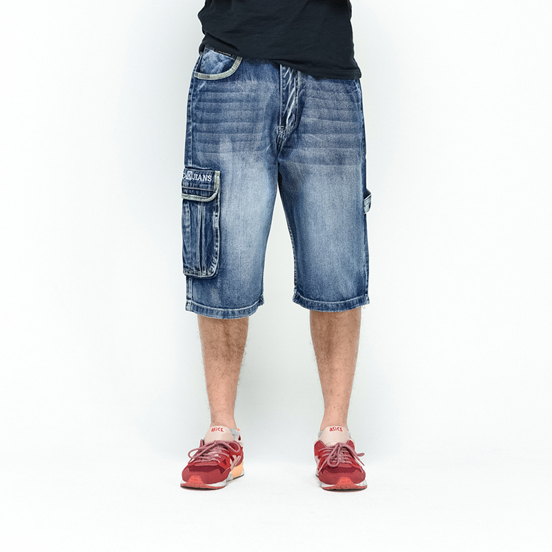 NEW 2018 Men Loose Jeans HIP HOP Skateboard short Jeans Mens Fashion trousers Size 30-46 Big pockets