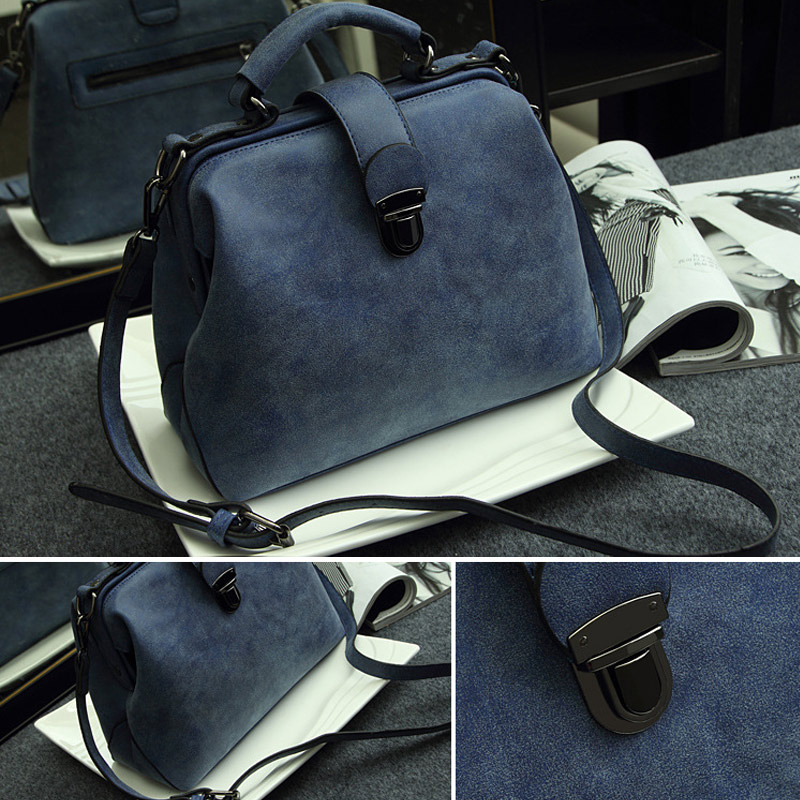 New Style Women Handbags Fashion Doctor Bags PU Leather Vintage Shoulder Crossbody Messenger Bag