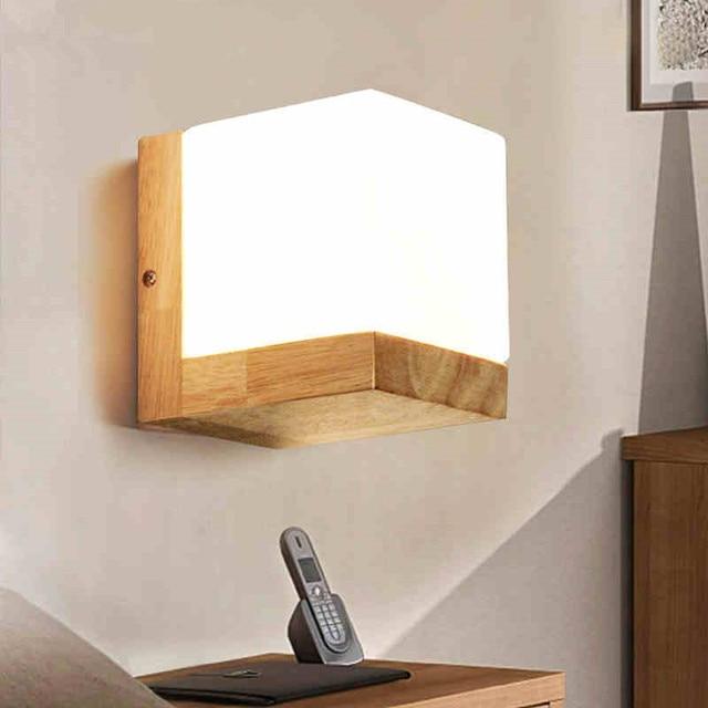 Moderne Chêne Bois Appliques Cube Sucre Abat Jour Chambre Chevet Applique  Murale Maison Applique Lotus