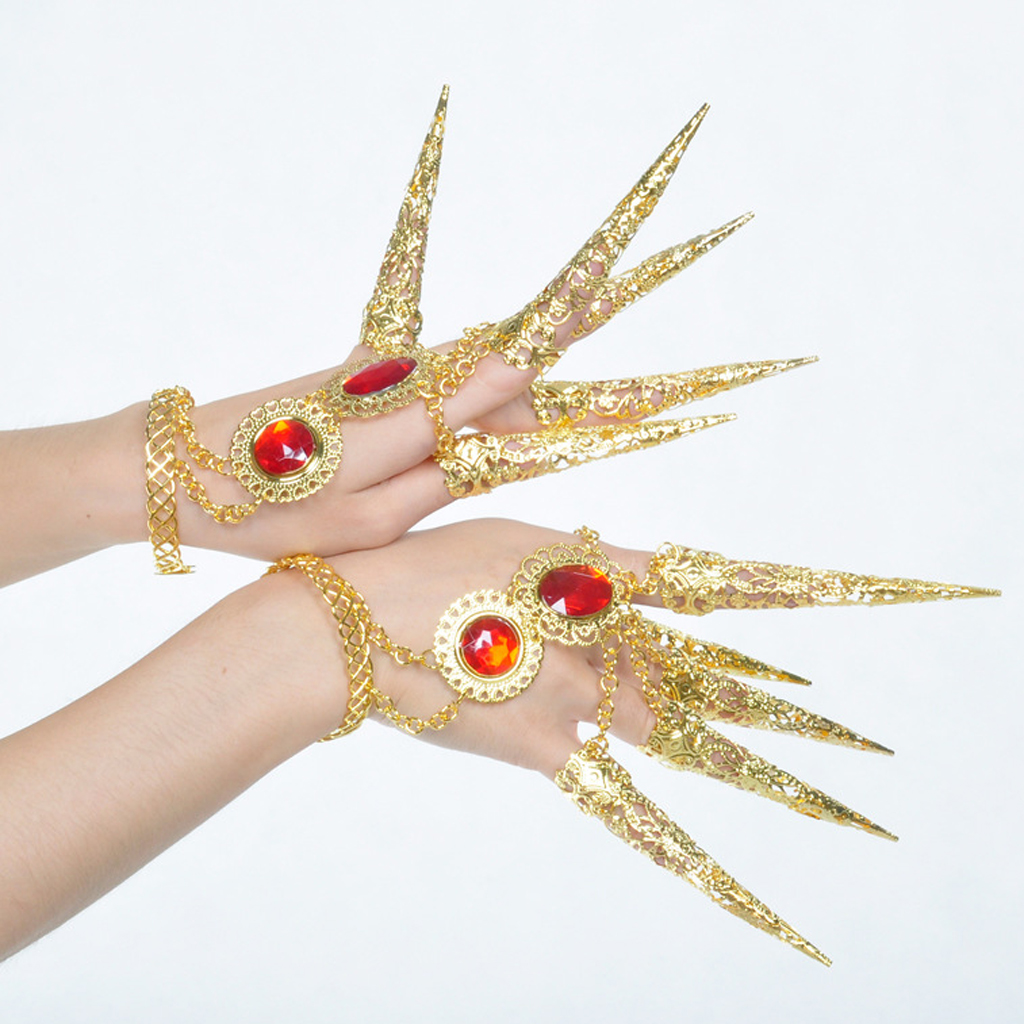 Unique Authentic Dancer Gold Bracelet With Long Finger Nails Costume Accessories For Belly Dance Thai Dance Carnival Halloween