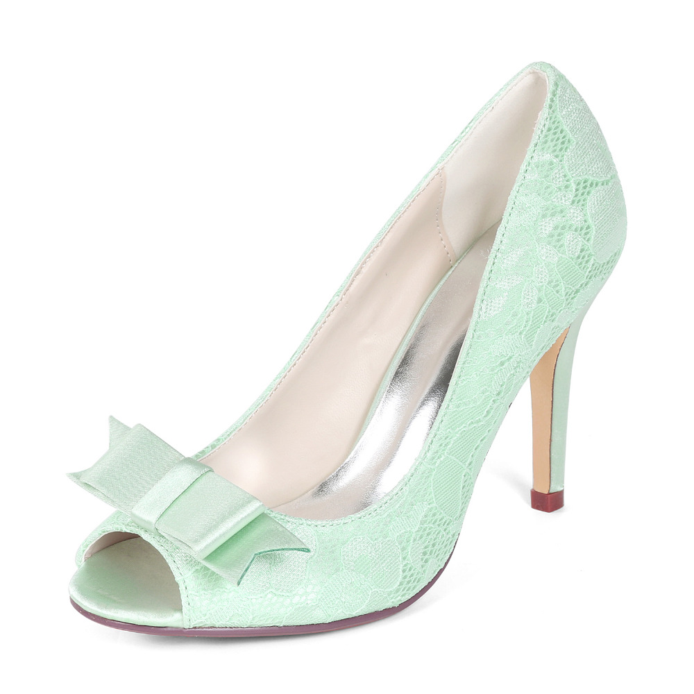 Creativesuga mint light green lace heels sweet bow pumps bridal bridesmaid wedding shoes prom girls brithday party dress shoes mint green casual sleeveless hooded top