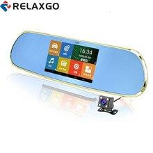 Sale Relaxgo 5″ android touch car camera gps navigation rearview mirror dvr dual lens parking car dvr wifi FM video recorder camera