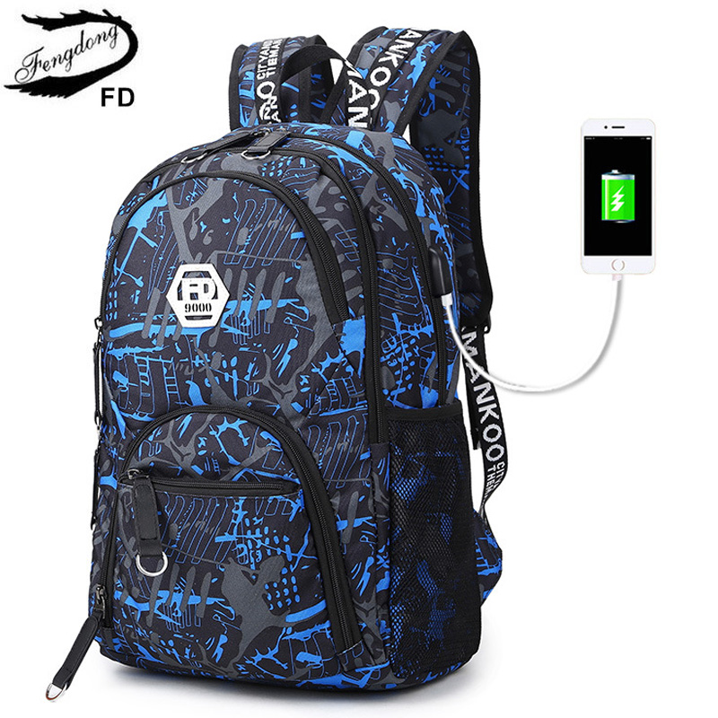 Buy FengDong Men External USB Charging Backpack Male Student Travel Daypack Women School Notebook Bags Teenagers Casual Rucksack for $19.19 in AliExpress store