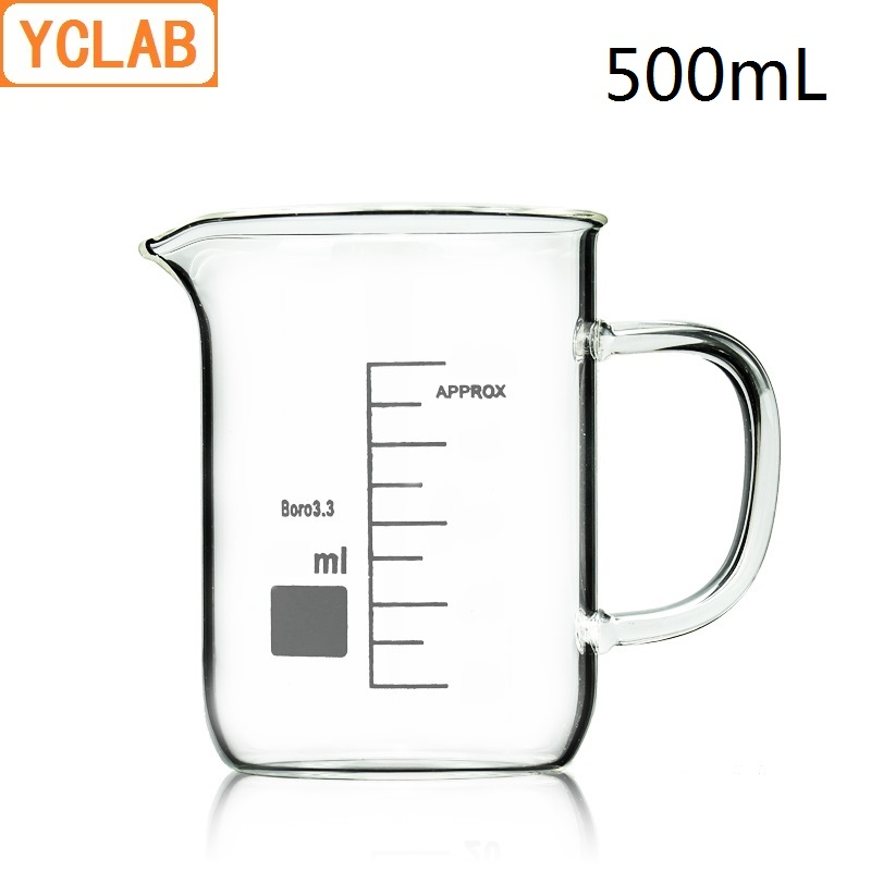 YCLAB 500mL Beaker Low Form Borosilicate 3.3 Glass With Graduation Handle Spout Measuring Cup Laboratory Chemistry Equipment