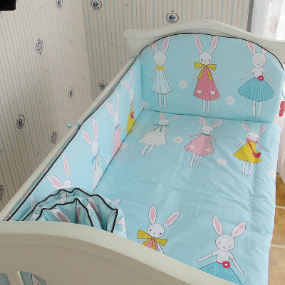 Promotion! 5PCS 100% Cotton Baby Bedding Set Unpick And Wash Crib Bedding Set Bed Sheets,include:(bumpers+sheet)