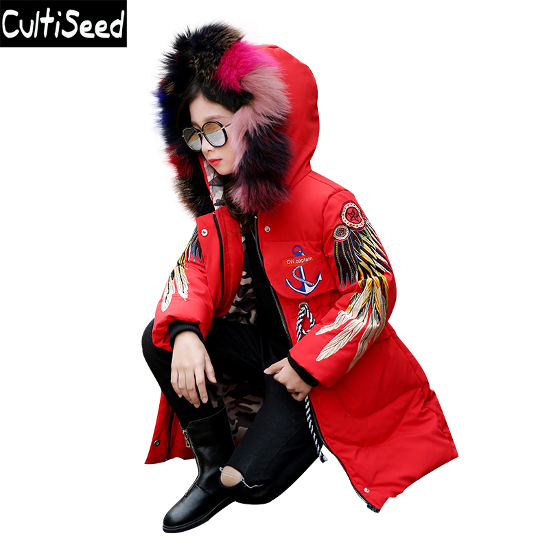 Children Winter Hooded Parkas Coat Girls Personality Color Faux Fur Embroidery Warm Long Parkas Outerwear Kids Coat Clothing shein faux fur trim hood embroidery applique coat casual women winter coats navy long sleeve zipper hooded coat