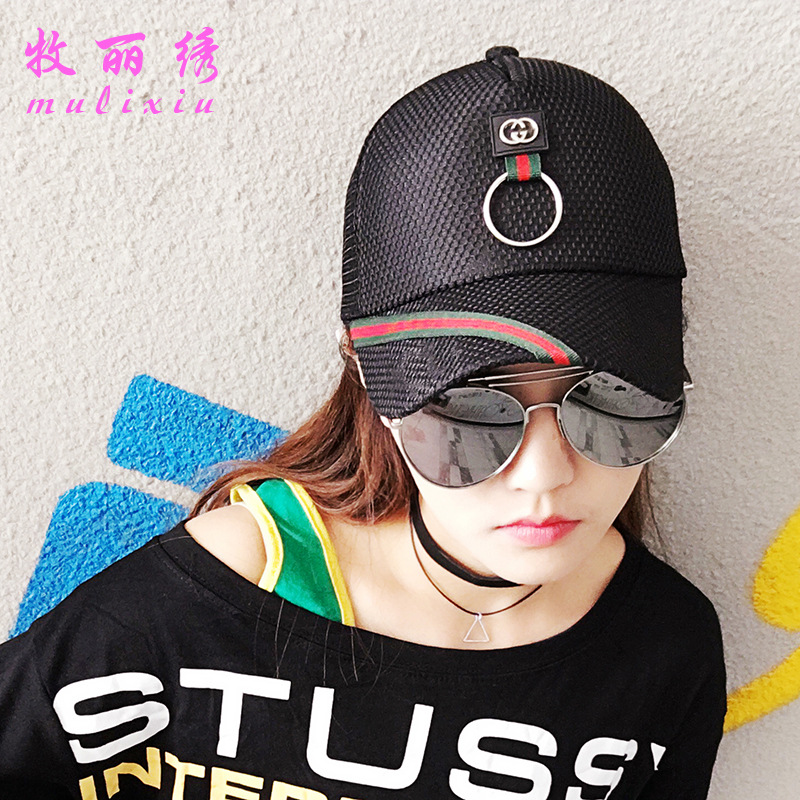 Fashion Summer New Style Silk Ribbon Baseball Cap Outdoors Sunscreen Sunhat Lady Casual Hot Striped Casual Students Women's Hat