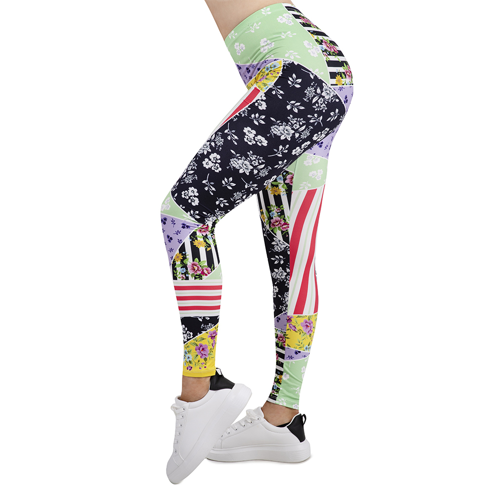 New Design Women Legging Patchwork Floral  Printing Leggins Slim High Elasticity Legins Fitness Leggings Female Pants