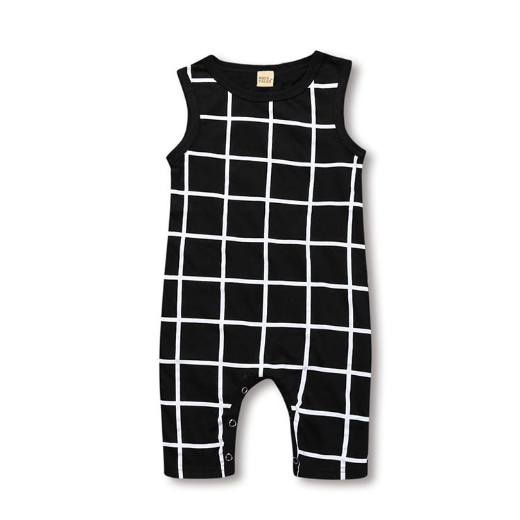 Hot Sale new born Baby onesie jumpsuit Boy Clothes Fashion Plaid Print Sleeveless Baby Boy Jumpsuits Summer Baby Boys   Rompers