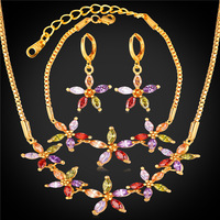 Zirconia Crystal Flower Jewelry Bracelet Earrings And Necklace Set 18K Gold Plated Bridesmaid Wedding Jewelry Set
