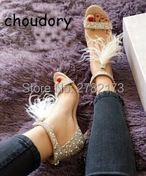 Fashion Crystal Embellished White High Heel Sandals With Feather Fringe Rhinestone Sandals Bridal Wedding Shoes Women Pumps brand feather white high heel women sandals for wedding personal romantic princess pumps sandalias masculinas wholesale