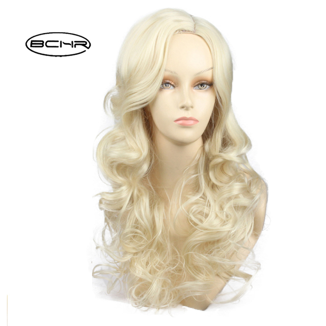 BCHR Long Wavy Light Gold Synthetic Wigs With Ombre bangs Crochet Hair For  Women s Cosplay Party 041726b23
