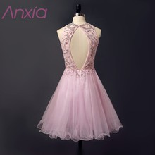 New Style Pale Pink Beaded Organza Short Prom Dresses 2017 Robe De Soiree Anxia A-Line Sequined Evening Dress Formal Party Dress