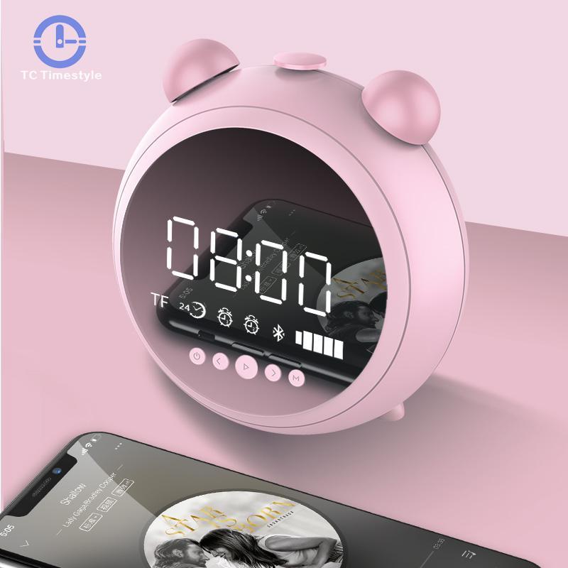 Despertador HD Espelho Com Luz Noturna AUX Rádio Fm Sem Fio Bluetooth Speaker Apoio Tf Jogador Crianças Relógios LED Digital