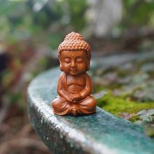 Миниатюрная статуэтка Будды, персиковый деревянный Будда, маленькие статуэтки монахов Йога Фея Садовые принадлежности украшения для террариума