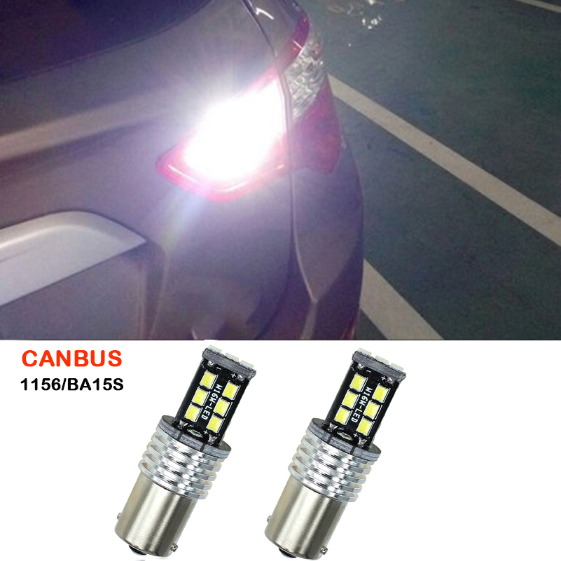 2x 1156 BA15S P21W LED White Backup Light Canbus No Error Car LED Rear Reversing Tail Light Bulb For Citroen C4 C5 C3 C2 C8 2x bright error free h8 h11 led projector fog light bulb for citroen c2 c4 c4l c5 triumph