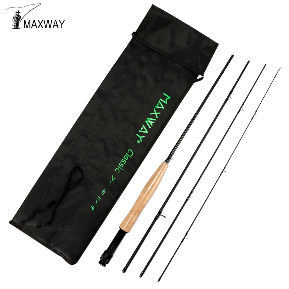 Maxway CLASSIC 3/4# 5/6# 7/8# Fly Fishing Rod 2.1M 2.7M Carbon Fiber Fishing Rod 4 Segments Medium Fast Action high quality 2 43m fly fishing 4 sections portable 66cm ultralight carbon fishing rod medium fast action fly rod tenkara fr166