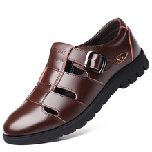 Sandals Men Summer Outdoor Comfortable Shoes Beach Casual Flat Sport Male Walking Water Breathable Leather Shoes DA0191 недорого
