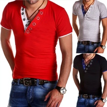 ZOGAA 2019 Summer T Shirt Men Button V Neck Short Sleeve T-shirt Fashion Hit 5 Color Slim Fit Brand Tops Casual Fitness Tshirt