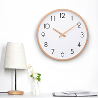 Wall Clock Wood Silent Non Ticking Large Wall Clocks For Kitchen Room Wooden Hand Simple Concise