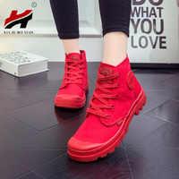 Nouveau printemps et automne chaussures pour femmes plate-forme plate avec des chaussures en toile de dentelle chaussures hautes Martin bottes chaussures vulcanisées