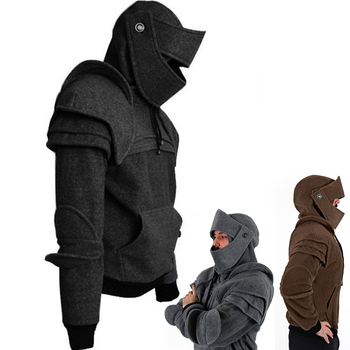 Men's Retro Drawstring Knight Sweater with Mask Protecting Elbow Knight Sweatshirt Winter Windproof Warm Keeping Hoodie Men 2019