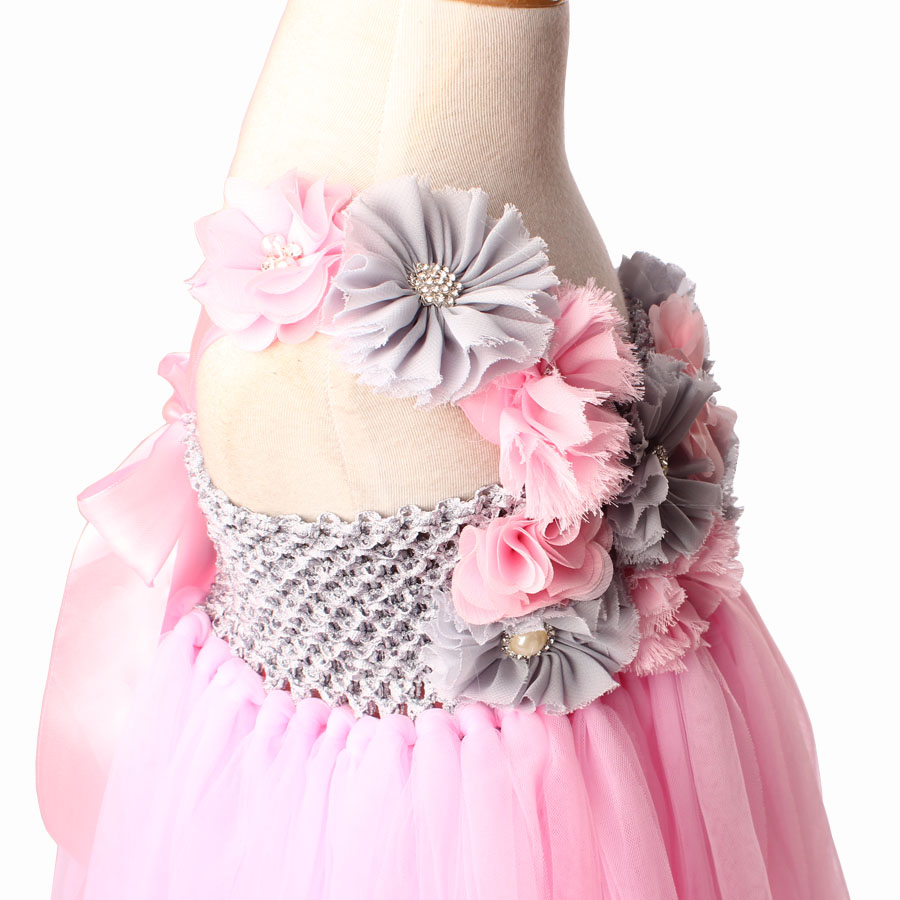 Vintage Pink And Gray Flowers Girls Wedding Tutu Dress Handmade Kids