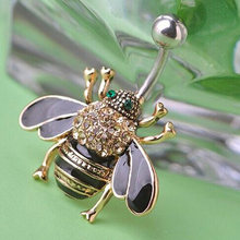 Brown Smalto Bee Penetrante Dei Monili Del Corpo Per Le Donne Sexy Dei Monili di Modo Nuovo Stile di Estate Ombelico anelli Ombelico Strass Piercing(China)