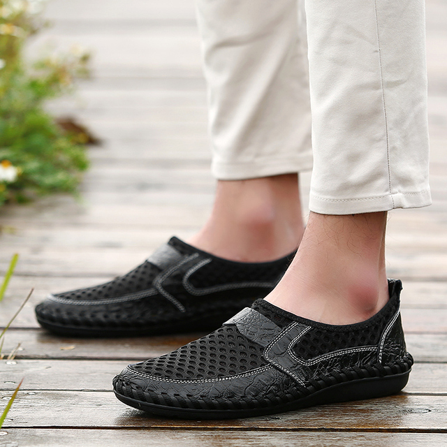 2018 Summer Breathable Mesh Shoes Italy Loafers Mens Casual Shoes Genuine Leather Slip On Brand Shoes Man Soft Comfortable 38-46 5