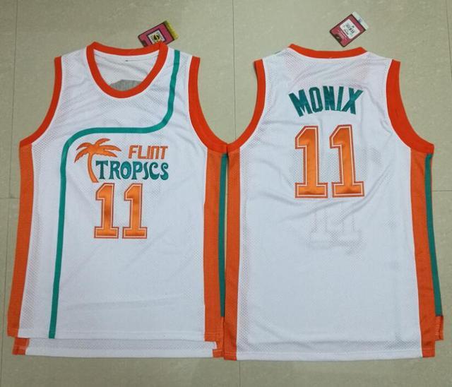 11 ED Monix Jersey Flint Tropics Semi Pro Movie Embroidered White Mens  Basketball Jersey 9bc3ef02c