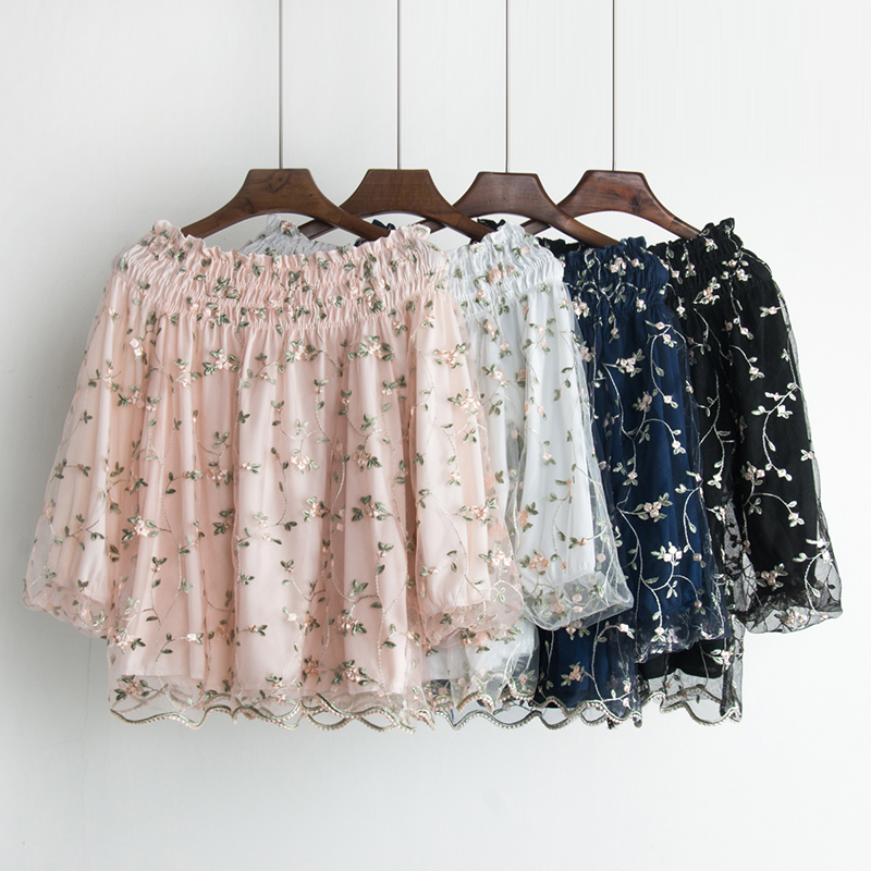Free shipping 2018 Spring The New A word collar Strapless embroidery Flowers Lantern sleeve fashion women's clothing temperament 1