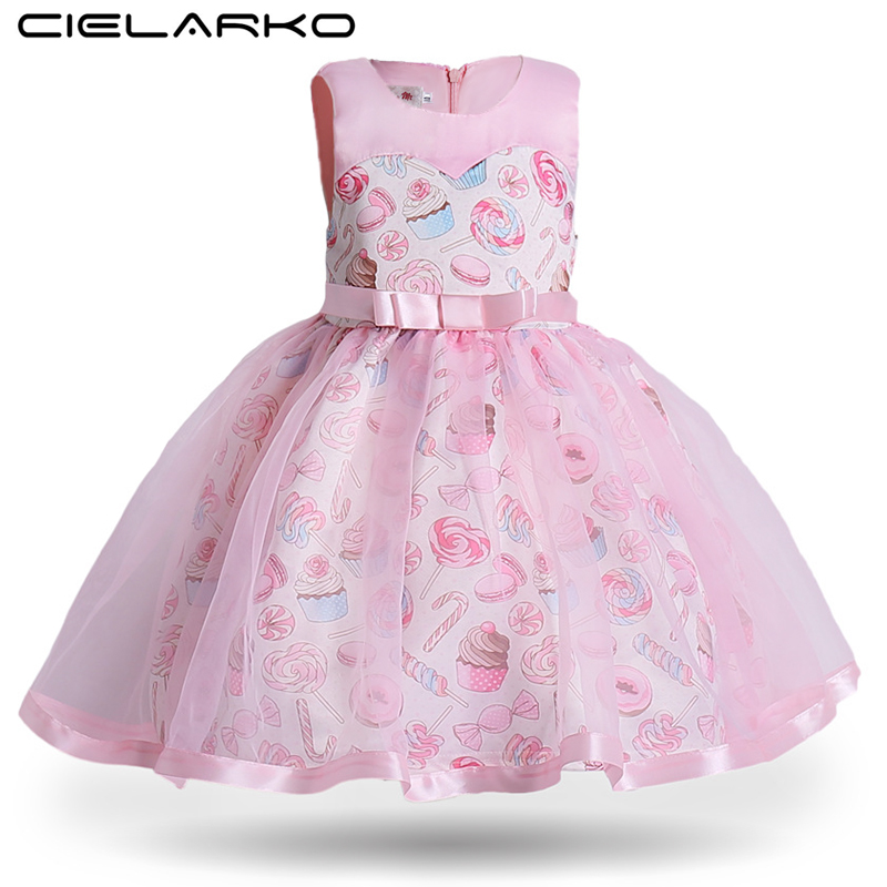Cielarko Princess Girls Dress Pink Birthday Wedding Party Baby Dresses Fancy Candy Cupcake Children Frocks for 2-10 Years Girl