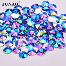 JUNAO 10mm Sewing Blue AB Crystal Rhinestones Flatback Acrylic Strass Appliques Sew On Round Rivoli Beads for Dance Dress Jewel