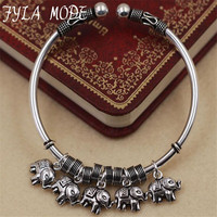 Fyla Mode 15g Vintage 100 Pure 925 Sterling Handwork Thai Silver Jewelry Auspicious Elephant Charms Bangles