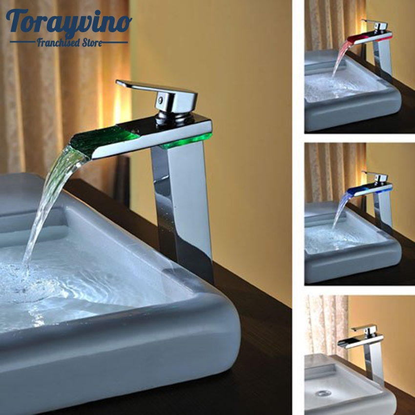 Torayvino LED Tall Basin Faucet Water Tap Bathroom Sink Mixer Waterfall Torneira Chrome Vanity Vessel Sinks Mixers Taps Faucets nieneng big discount basin washroom mixer bathroom faucet tap mixers wc sanitary ware water toilet taps polished chrome icd60157