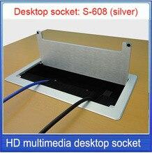 цена на desktop socket /aluminum alloy socket, 3.5 audio, HDMI,Multimedia information box desktop socket /Can be customized socket S-608