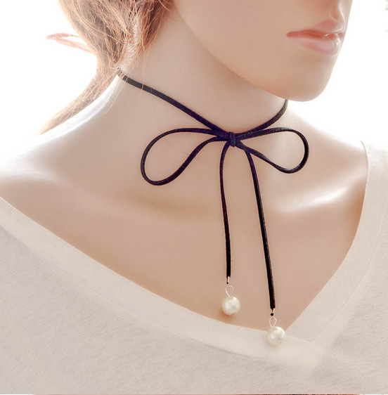 Knock Double Layer Black Bow tie Choker Necklace Vintage Bow Clavicle Short Necklaces For Women Bijoux Fashion Jewelry Gift