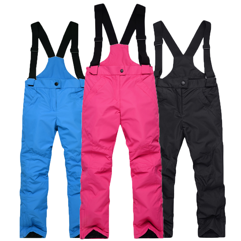 -35 Children Snow Bibs Skiing Suit Pants Outdoor Snowboarding Trousers Waterproof Thermal Winter Ski Suspended Pant Girl And Boy