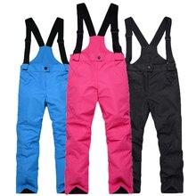 -35 Children Snow bibs Skiing suit pants outdoor snowboarding Trousers waterproof thermal Winter Ski Suspended pant Girl and Boy