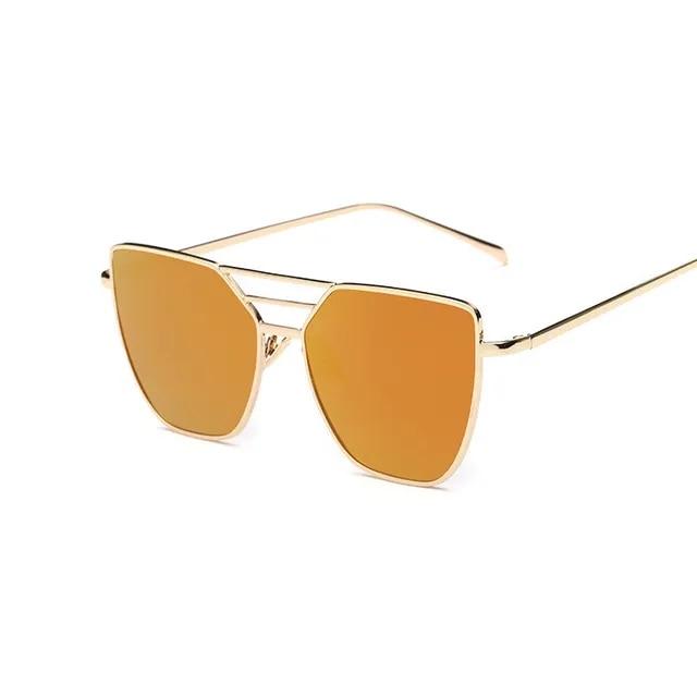 2019 New Arrival Cat Eye Women Sunglasses Double Bridge Alloy Frame Fashion Men Sun Glasses Coating Mirror Eyewear UV400