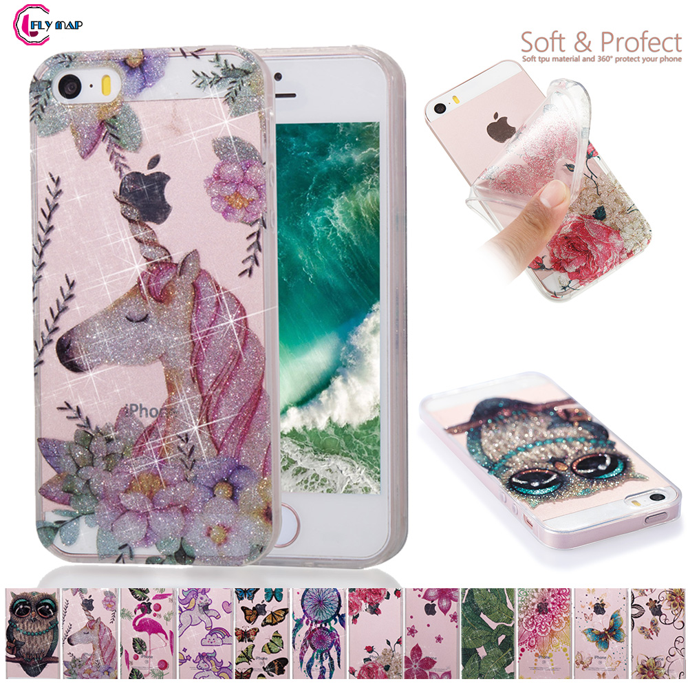 Glitter Soft Shell Cover for Apple iPhone 5 5S SE S E 4.0 inch Transparent Silicone Flamingo Unicorn Mobile phone Case Bag