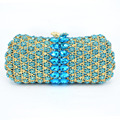 Latest Luxury Crystal Rhinestone Women Golden Aquamarine Evening Bag Crystal Encrusted Bags Party Handbags Clutch Purse sc496
