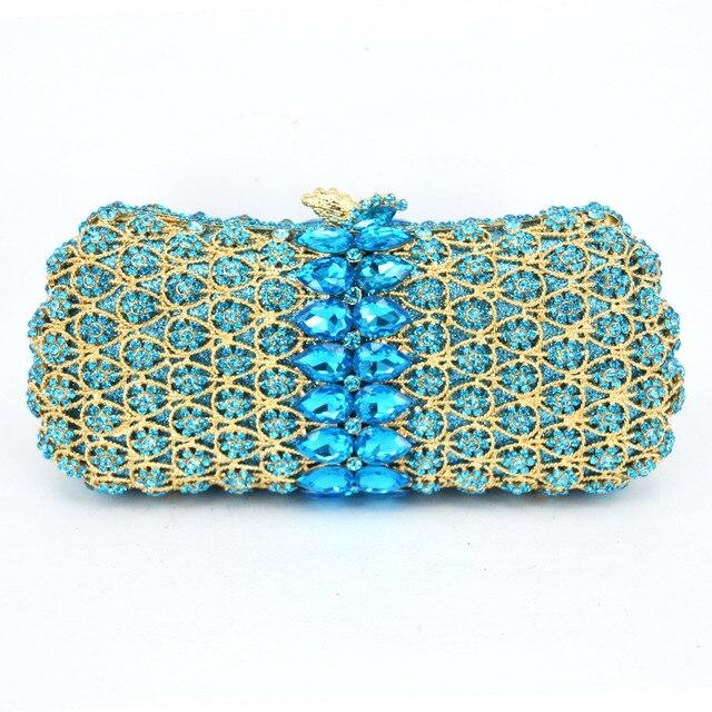 Latest Luxury Crystal Rhinestone Women Golden Aquamarine Evening Bag Crystal Encrusted Bags Party Handbags Clutch Purse sc496