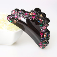 New High Quality Large Rhinestone Hair Accessories Hot Sale Fashion Jewelry Crystal Hair Clip Acrylic Plastic