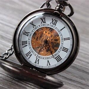Image 4 - Vintage Schwarz Mechanische Taschenuhr Herren Klassische Elegante Hohl Skeleton Hand wind Retro Männlichen Uhr Anhänger FOB Kette Uhren